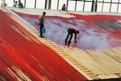 Arbeit am Bühnenbild in den Bühnenbildwerkstätten der Bundestheater, 1994/95. Foto: Atelier Nitsch privat