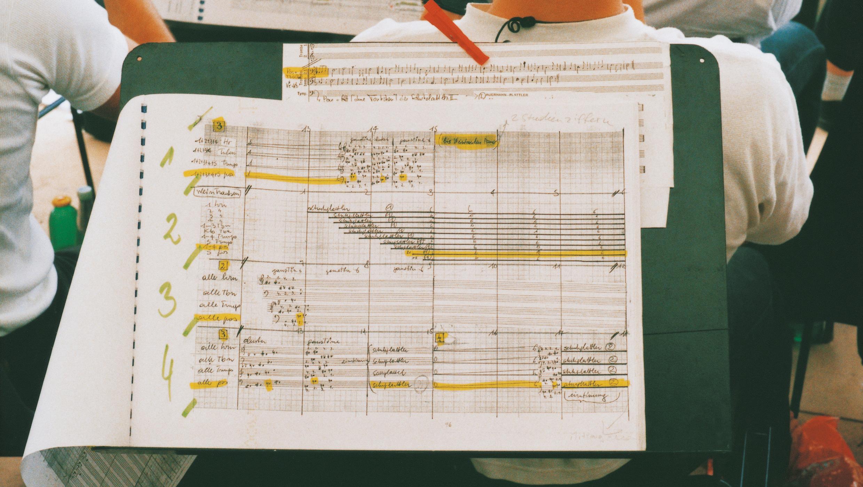 ein Notenblatt aus der Partitur des 6 Tage Spiel