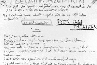 Schriftstück von Hermann Nitsch über die Gesamtkonzeption des Orgien Mysterien Theaters