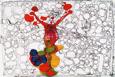 Hermann Nitsch, Architekturzeichnung, Kugelschreiber und Filzstift auf Papier, 1974