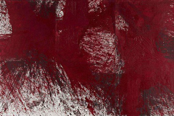 rotes Bodenschüttbild von Hermann Nitsch, aus dem Jahr 2005